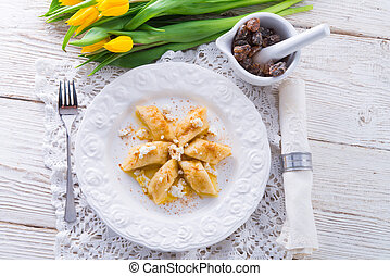 Polish Curd  dumplings with cinnamon butter