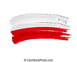Polish flag drawing - illustration of isolated hand drawn...