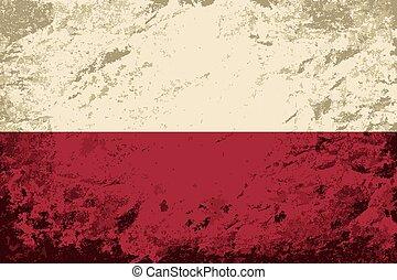 Polish flag. Grunge background.
