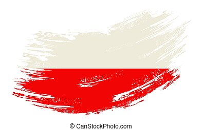 Polish flag grunge brush background. Vector illustration.