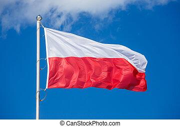 Polish flag on blue sky background