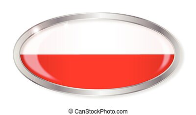 Polish Flag Oval Button
