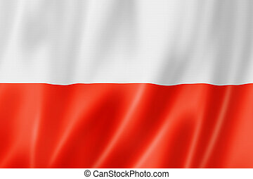 Polish flag - Poland flag, three dimensional render, satin...
