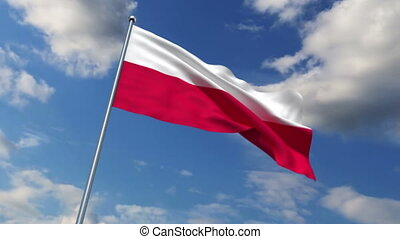 Polish flag waving against time-lapse clouds background