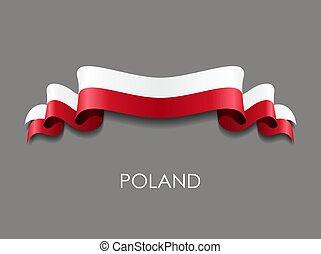 Polish wavy flag ribbon on gray background. Vector illustration.