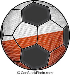 Polish flag with soccer ball background