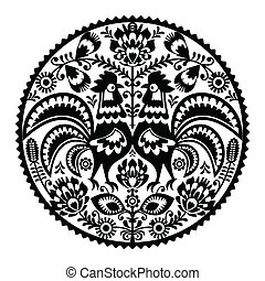 Polish floral embroidery - Decorative traditional vector ...