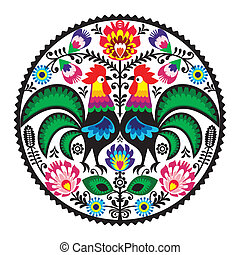 Polish floral embroidery roosters - Decorative traditional...