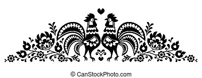 Polish floral folk art long embroidery pattern with roosters...