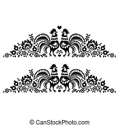 Polish floral folk art long pattern - Decorative traditional...
