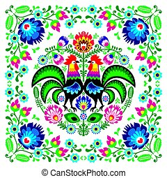 Polish floral folk art square pattern with rooster - wzory...