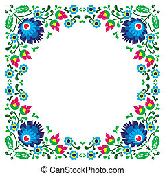 Polish floral folk embroidery frame - Traditional vector...