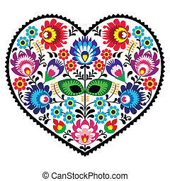 Polish folk art art heart pattern - Decorative traditional ...