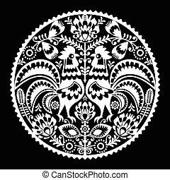 Polish folk art embroidery pattern
