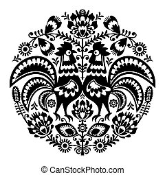 Polish folk art floral round embroidery with roosters,...