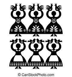 Vector monochrome folk design from the region of Kolbiel in Poland with women holding birds