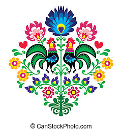 Polish folk embroidery pattern