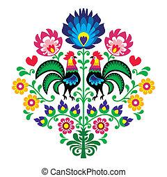 Polish folk embroidery pattern
