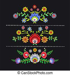 folk pattern - polish folk pattern flowers