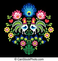 Polish folk vector pattern with roosters - floral design...