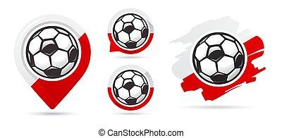 Polish football vector icons. Soccer goal. Set of football icons.