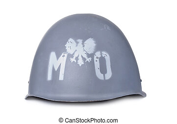 Polish MO (citizens militia) helmet isolated on white...