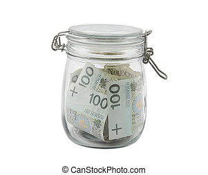 Polish money in a glass jar