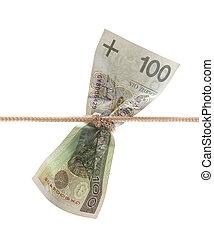 Polish money tied in twine