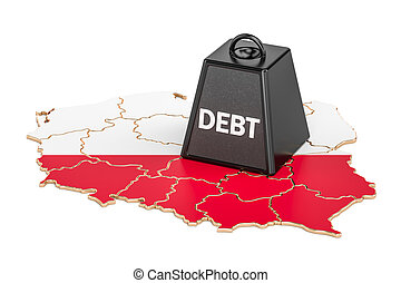 Polish national debt or budget deficit, financial crisis concept, 3D rendering