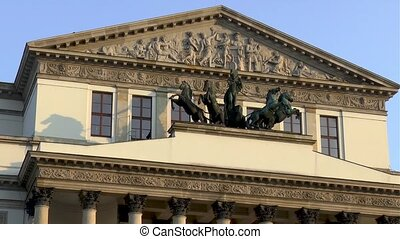 Architectural elements on the facade of the Polish National Opera in downtown Warsaw, Poland.