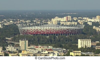 View of the Polish National Stadium and buildings in the outskirts of Warsaw, Poland.