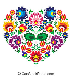 Polish olk art art heart embroidery with flowers - wzory...