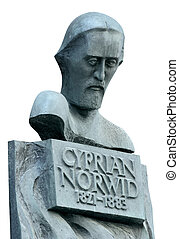Polish poet Cyprian Norwid bronze monument in Warsaw. Isolated on white.