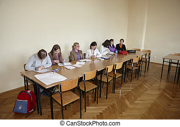 Polish students at final examination