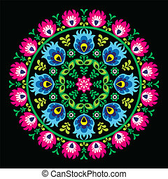 Polish traditional circle folk art - Decorative floral...
