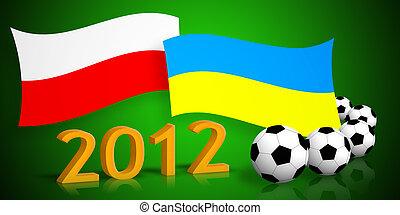 polish & ukrainian flags, soccer balls and 2012 number -...