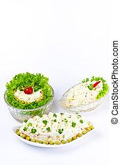 Polish vegetable salads with mayonnaise
