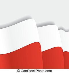 Polish waving Flag. Vector illustration.