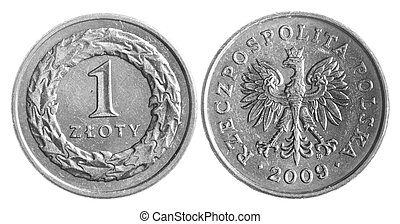 Polish zloty coins isolated over white background