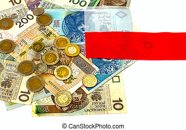 Polish zloty. Many banknotes, coins of different denomination.