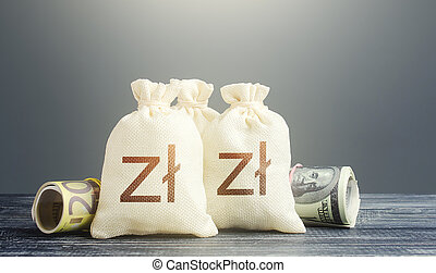 Polish zloty money bags and cash. Financial resources, ...