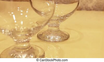 polished cognac glasses put the table one by one - polished...