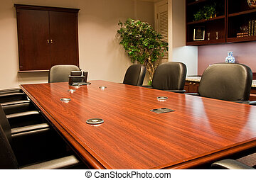 Polished Conference Room Table with Coasters