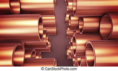 """Polished copper pipes."" - ""3D rendering of Polished copper..."