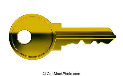 Polished gold key. 3d image. Isolated white background.