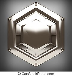 polished metal element on gray background