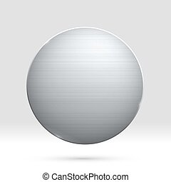 Polished round metal template for coin, medal, award or button for web design. Vector illustration. Metallic plate with realistic light and shadow on gradient background. Technology graphic tool.