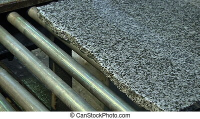 Polishing granite slabs on production - Granite processing...