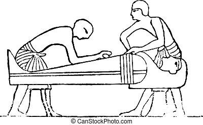 Polishing the mummy, vintage engraving. - Polishing the...