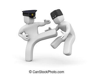 polisman, defused, a, thief., 3, illustration